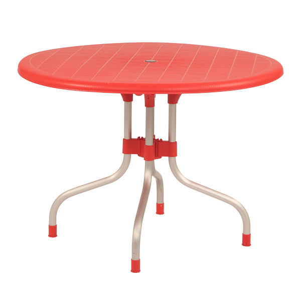 Supreme Cherry 4 Seater Round Dining Table Red
