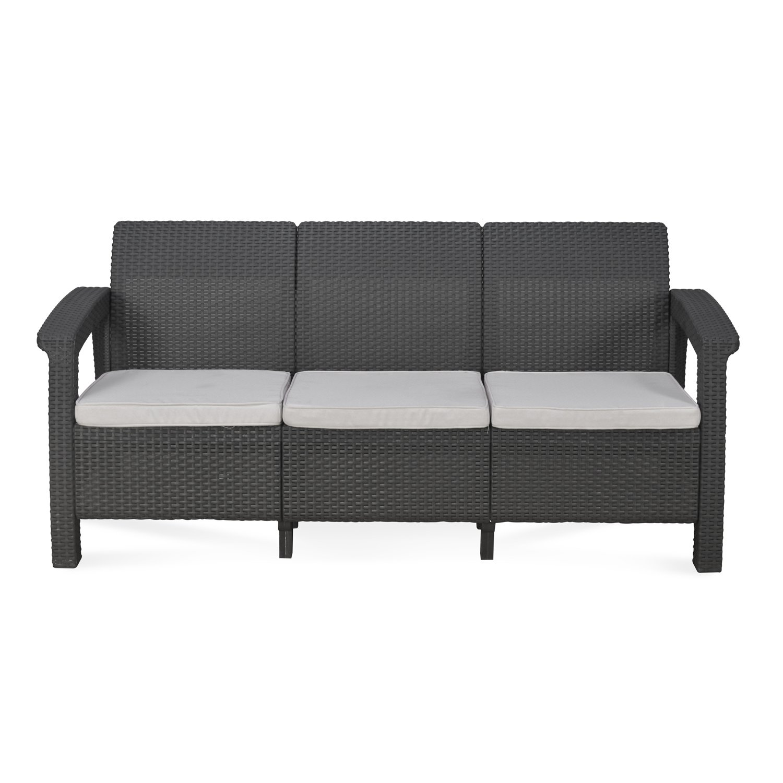 Picture of: Nilkamal Goa Sofa 3 Seater With Cushion Grey Furnishkart Com
