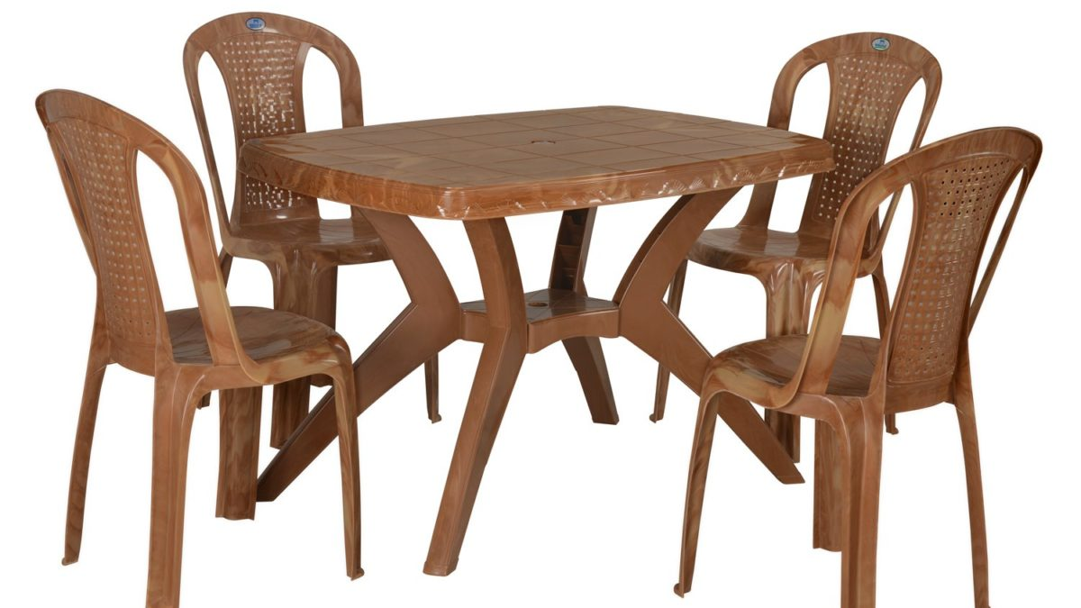 Nilkamal Folding Dining Table Set with Plastic Chairs